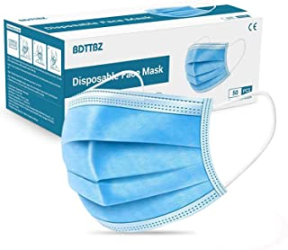 (US SHIPMENT)BDTTBZ 50 Pcs Disposable Medical Face Mask, 3-Layer Non Woven Masks with Earloop for Personal Care, Foldable Breathable Dust Mask for Adults and Children, Blue Color