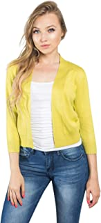 G-Style USA Women's 3/4 Sleeve Open Front Lightweight Cropped Shrug Cardigans Sweaters (S-XL)
