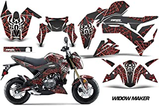 AMR Racing Motorcycle Graphics kit Sticker Decal Compatible with Kawasaki Z125 2016-2018 - Widow Maker Red & Black