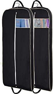 """MISSLO 54"""" Breathable Suit Carrier Dress Garment Bag for Travel Clothes Covers with Handle and Gusseted, Pack of 2"""