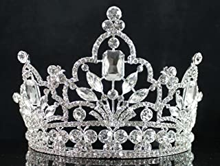 Janefashions Attractive Clear White Austrian Crystal Rhinestone Tiara Crown With Comb Hair Jewelry Headband Veil Headpiece Princess Beauty Queen Parade Costume Birthday Party Prom Pageant T1856 Silver
