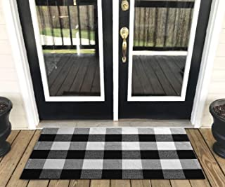 "Buffalo Plaid Rug - YHOUSE Checkered Indoor/Outdoor Door Mat Outdoor Doormat for Front Porch/Kitchen/Laundry Room Welcome Layered Mat (23.6""X35.4"", Black and White Plaid)"