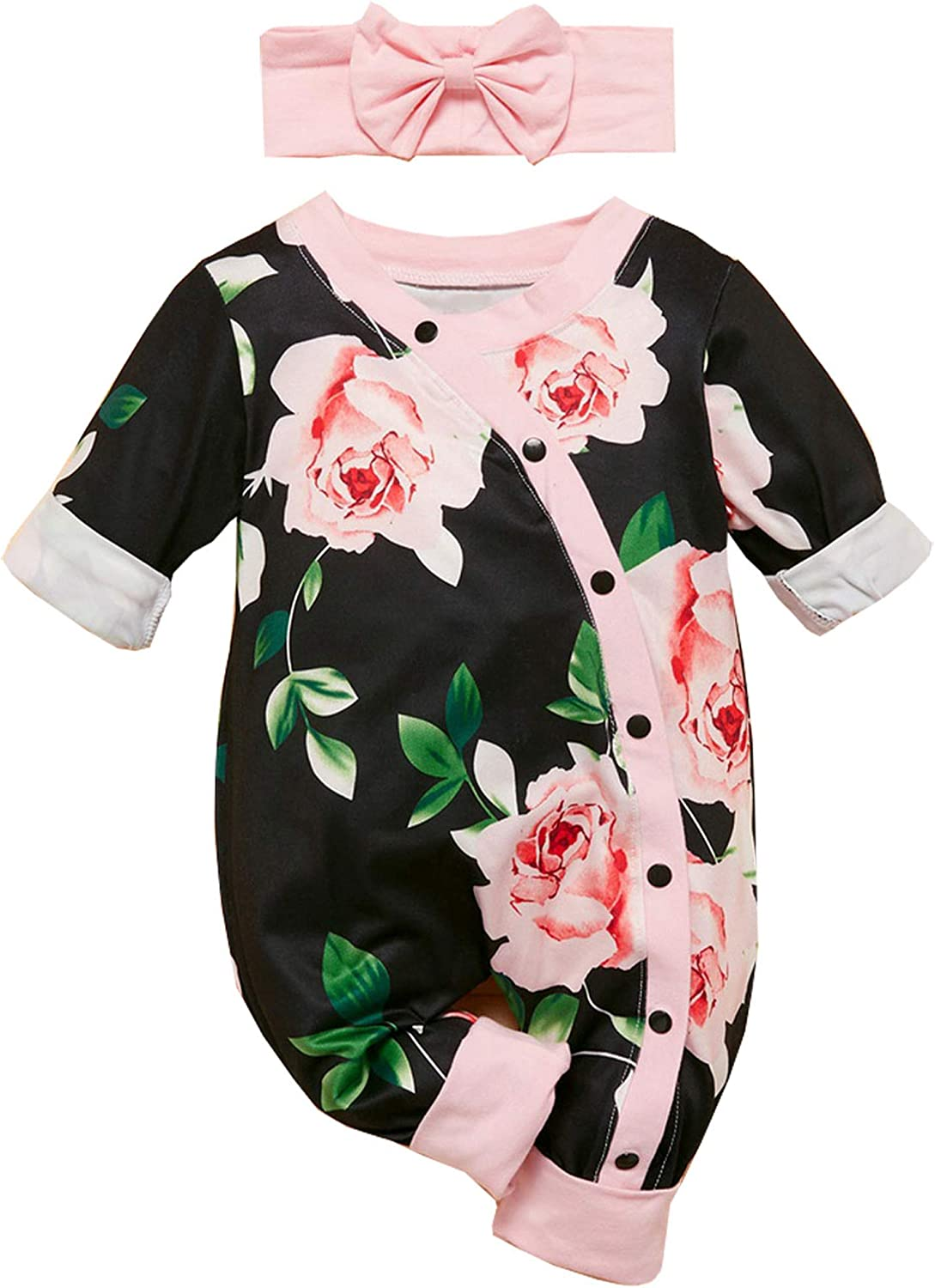 Newborn Baby Girl 2021 autumn and winter new Clothes Floral Footless Jum Romper Long Sleeve OFFicial mail order