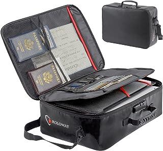 ROLOWAY Fireproof Document Bag (17 x 11.8 x 5 inch) with Lock, Fireproof Document Safe Organizer, Fireproof File Storage B...