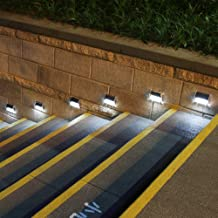 [Upgraded 3 LED] HKYH Newest 6 Pack 3 LED Solar Bright Step Light Stairs Pathway Deck Garden Lamps Stainless Steel Wall Ya...
