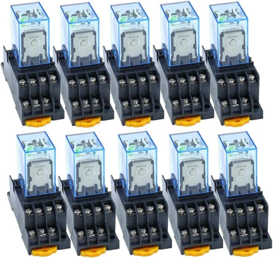HOUTBY 10Pack Ultra-Cheap Deals Denver Mall 110V AC Coil Power 4PDT MY4NJ 14 Pin HH54P-L Relay