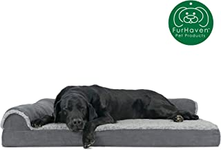 Furhaven Pet Dog Bed | Orthopedic Chaise Lounge Sofa-Style Living Room Corner Couch Pet Bed w/ Removable Cover for Dogs & Cats - Available in Multiple Colors & Styles
