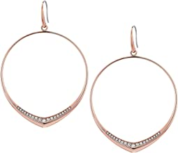 Michael Kors Tone and Pave Drop Hoop Earrings