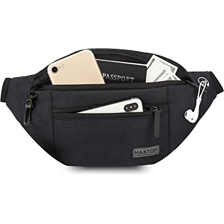 MAXTOP Large Crossbody Fanny Pack with 4-Zipper Pockets,Gifts for Enjoy Sports Festival Workout Traveling Running Casual Hands-Free Wallets Waist Pack Phone Bag Carrying All Phones