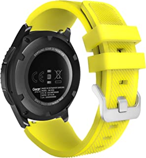 MoKo Band Compatible with Samsung Gear S3 Frontier/Classic/Galaxy Watch 46mm/Huawei Watch GT 46mm/Ticwatch pro/S2/E2, Silicone Sport Strap Fit 22mm Band, Yellow