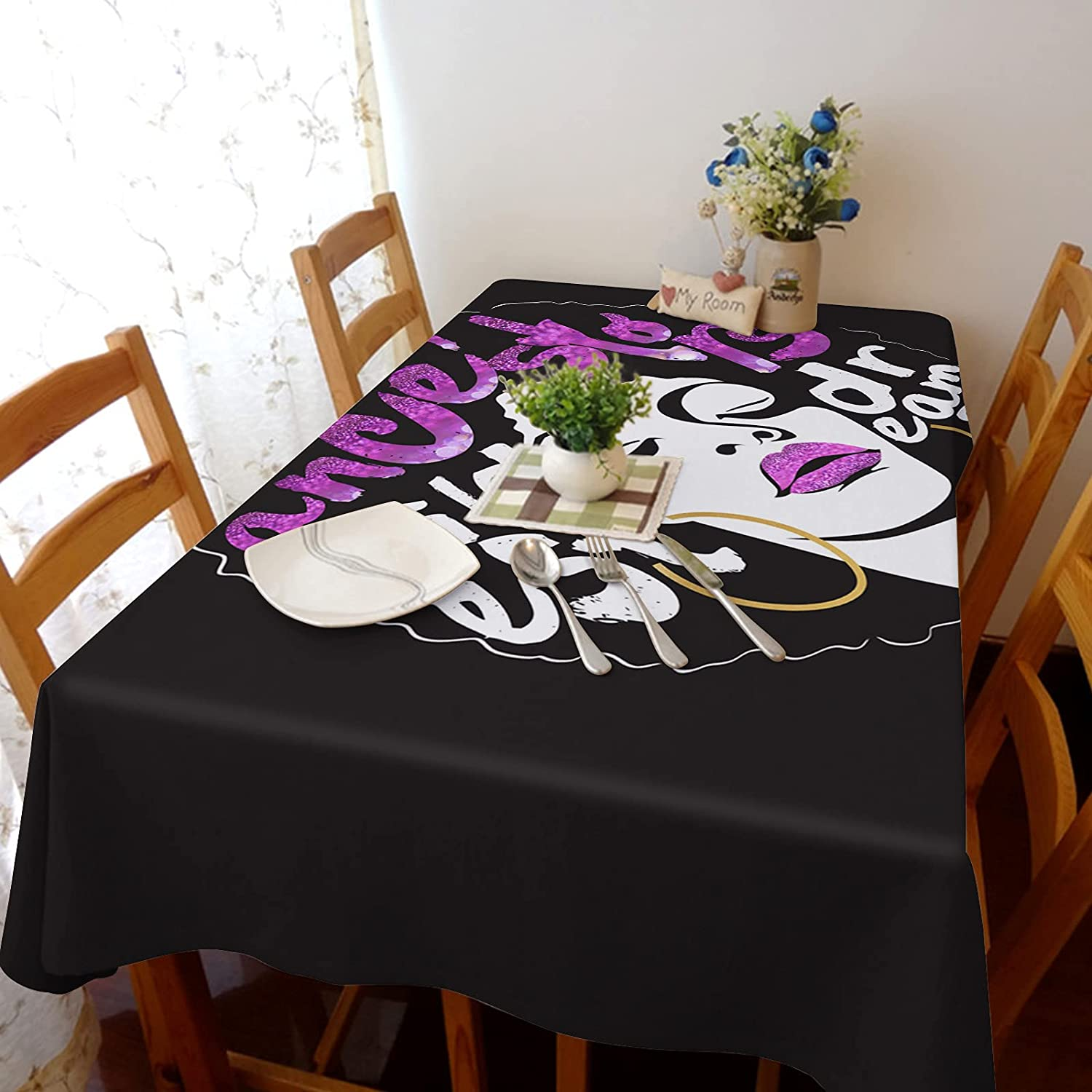 Flouky shop 54x109in Stretch Durable Dust-Pro Tablecloth Cotton Linen High quality new