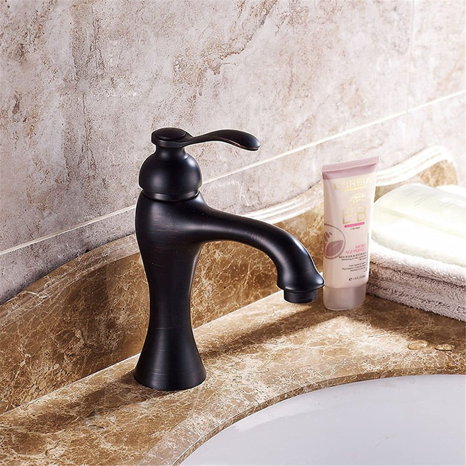 IJIAHOMIE Style of Bathroom Sink Taps, Bathroom Faucets,Waterfall Basin Sink Sink Sink Mixer Tap Modern Basin wash Basin Copper Blackbronze hot and Cold Single Hole Single Water Saving 6580d1