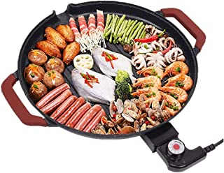 UXZDX CUJUX Round Grill Outdoor Charcoal Full Stainless Steel Korean Smokeless Household Commercial Grill Pan Fry Pan