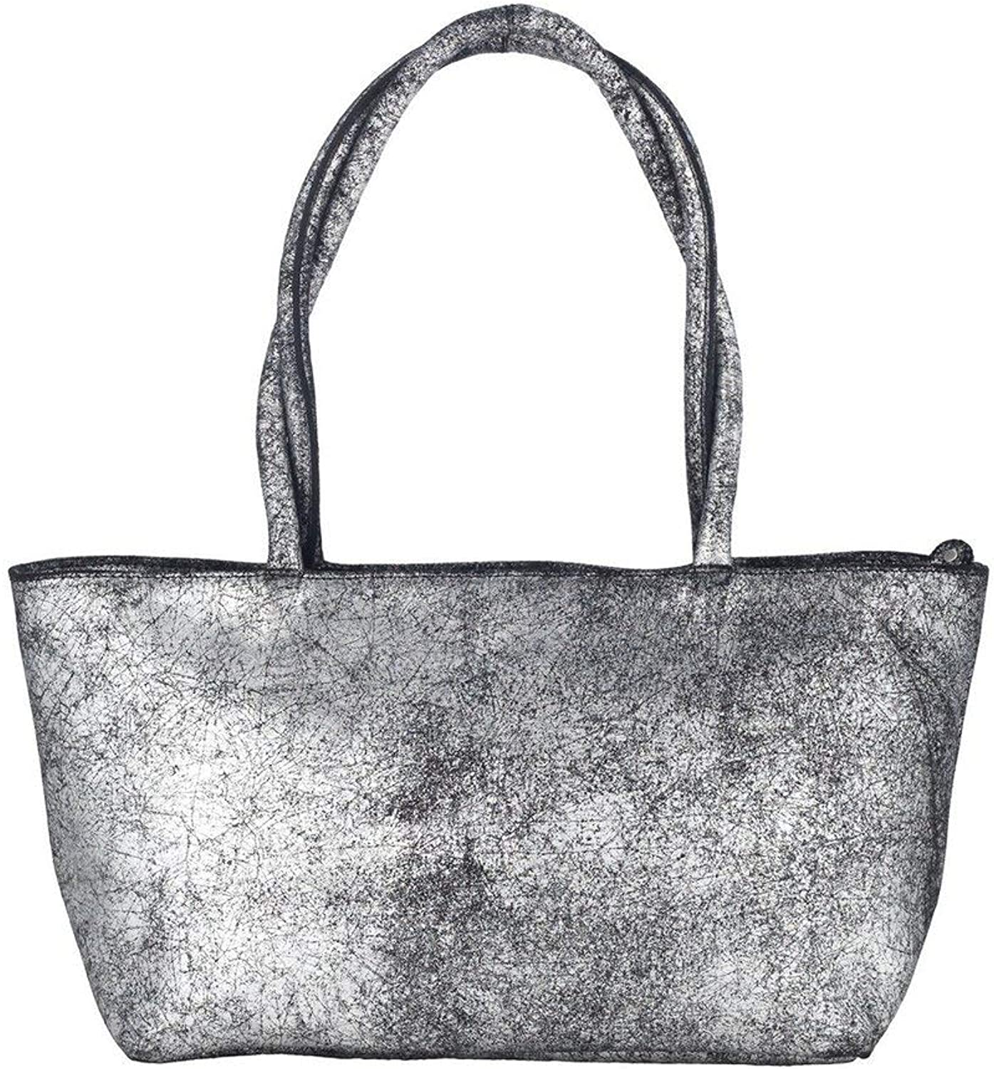 Olivia Riegel Distressed Leather Asia Bag, Silver Black