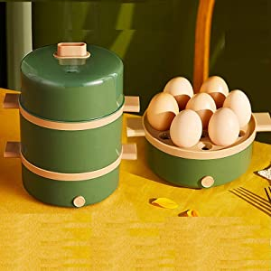 Denghl 2 Layers Electric Egg Steamer, Automatic Multifunctional, Boiler Breakfast Maker Steaming Cooking Machine Multi Cooker
