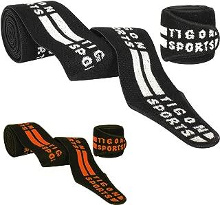 Tigon Sports Knee Wraps Bandage Weight Lifting Straps Guard Powerlifting Pads Gym Sleeves