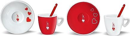 Preisvergleich für Bialetti 2 Espressotassen mit Untertasse und Löffel, Porzellan, rot/weiß 23.8 x 17.4 x 8.4 cm, 6-Einheiten