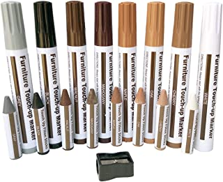 Furniture Repair Wood Repair Markers Touch Up Repair pen-17PC-Markers and Wax Sticks,for Stains,Scratches,Wood Floors,Tables,Carpenters,Bedposts-8 Felt Tip Wood Markers,8 Wax Sticks with Sharpener Kit