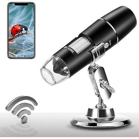 Wireless Digital Microscope 1X-1000X 1080P Handheld Portable Mini WiFi USB Microscope Camera with 8 LED Lights for iPhone/iPad/Smartphone/Tablet/PC