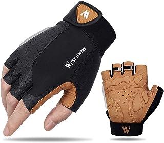 West Biking Cycling Gloves for Men Women Anti Slip Shock-Absorbing Half Finger Road MTB Gloves with Foam Padding, Breathab...