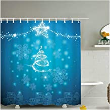 Aokarry Bathroom Accessories Shower Curtain Christmas Snowflake Blue 180x200CM