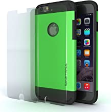 iPhone 6 Case-Cover 4.7 Inch+Tempered Glass Protector, Best for Apple Phone Cases-Heavy Duty Shock Absorbing TPU-Ultra Protective Skin-Seamless-Green