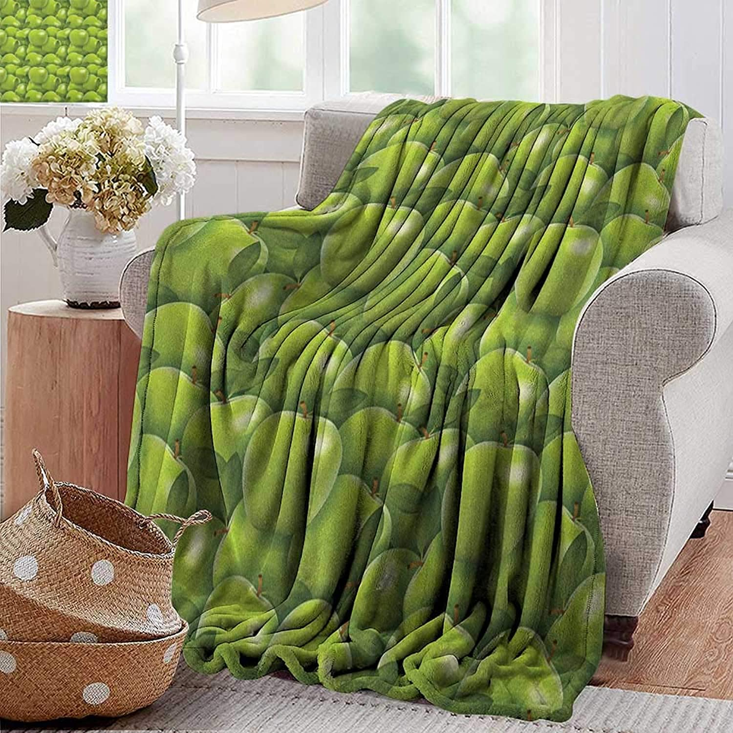 Weighted Blanket for Kids,Apple,Agriculture Harvest Pattern with Granny Smith Apple Drawing Autumn Fruit, Apple Green Fern Green,Weighted Blanket for Adults Kids, Better Deeper Sleep 35 x60