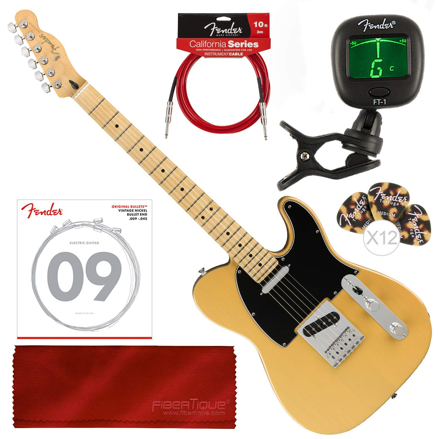 Cheap Fender Player Telecaster Electric Guitar - Maple Fingerboard - Butterscotch Blonde with Tuner and Accessory Bundle Black Friday & Cyber Monday 2019