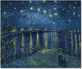 Wieco Art Starry Night Over The Rhone by Van Gogh Classic Oil Paintings Reproduction Modern Seascape Giclee Canvas Prints Artwork on Canvas Wall Art Ready to Hang for Living Room Home Decorations
