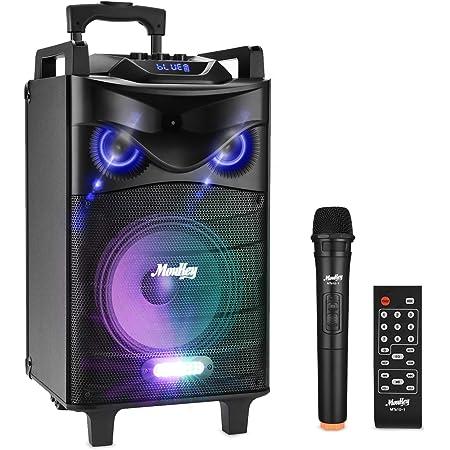 """Bluetooth Sonorisation Portable Moukey Karaoké Speaker Audio Haut-parleurs 140 W Enceinte Sono PA système avec lumières DJ VHF Micros Radio MP3/USB/TF/FM pour la fête de Noël 10"""""""