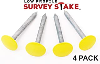Pepperfish Low Profile Survey Stakes - 4-Pack - Hi-Vis Yellow - Survey Markers