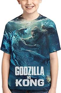 Godzilla VS Kong Boys 3D Printing Fashion and Comfortable Short-Sleeved Monster T-Shirt Top for Boys