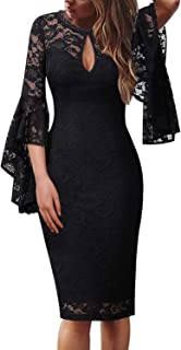 3f3686838cfb VFSHOW Womens Sexy V Neck Ruffle Bell Sleeve Cocktail Party Sheath Dress
