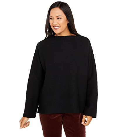 Eileen Fisher Lightweight Boiled Wool Funnel Neck Box Top (Black) Women