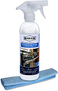Bayes High-Performance Stainless Steel Cleaner, Polish, and Protectant - Includes Microfiber Cloth - Cleans, Shines and Protects Indoor and Outdoor Stainless Steel Surfaces - 16 oz