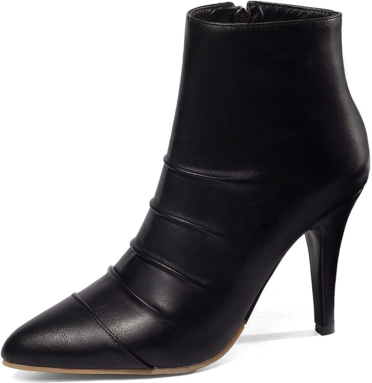 Winter PU Leather Ankle Boots Women Stilettos High Heels Zipper Short Autumn Slouch Booties