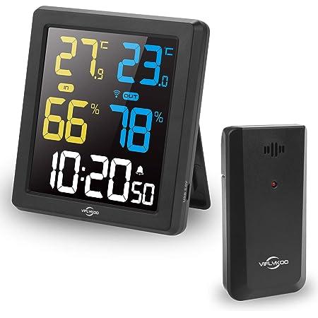 VIFLYKOO Estacion Meteorologica Inalámbrica, Termometros Higrometro Interiores y Exteriores, Monitor de Temperatura con Pantalla de Sensor VA Pronóstico del Tiempo,Mini Reloj Digital