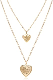 Gold Layered Pendant Necklace for Women Heart Triangle Disc Bar Choker Necklace