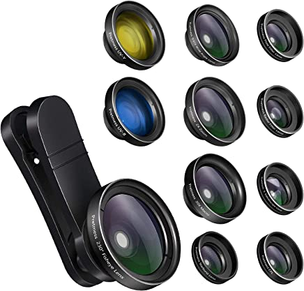 Phone Camera Lens,11 in 1 0.65X Wide Angle Lens+230°...