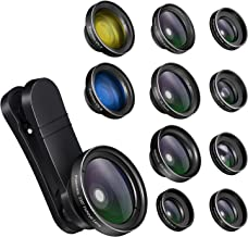 iPhone Camera Lens Kits - Pretmess 4K HD 11 in 1 Aspherical Wide Angle Lens+Super Macro+Fisheye Lens+Telephoto, Phone Lens for Android/iPhone,Cell Phone Video Lens for iPhone/Samsung/Most Smartphone