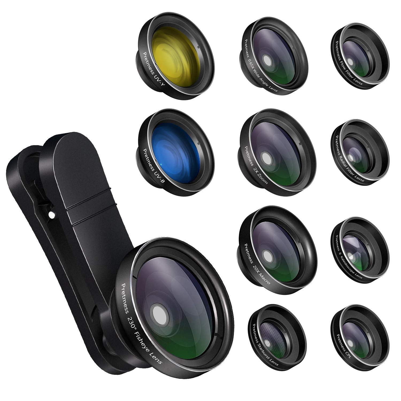 230/° Fisheye Lens, 0.65X Super Wide Angle Lens, 15X Super Macro Lens Samsung Phone and Other Cellphones FEGEGO Camera Lens Kit for iPhone X//XR//8//7Plus//7//6sPlus - Black