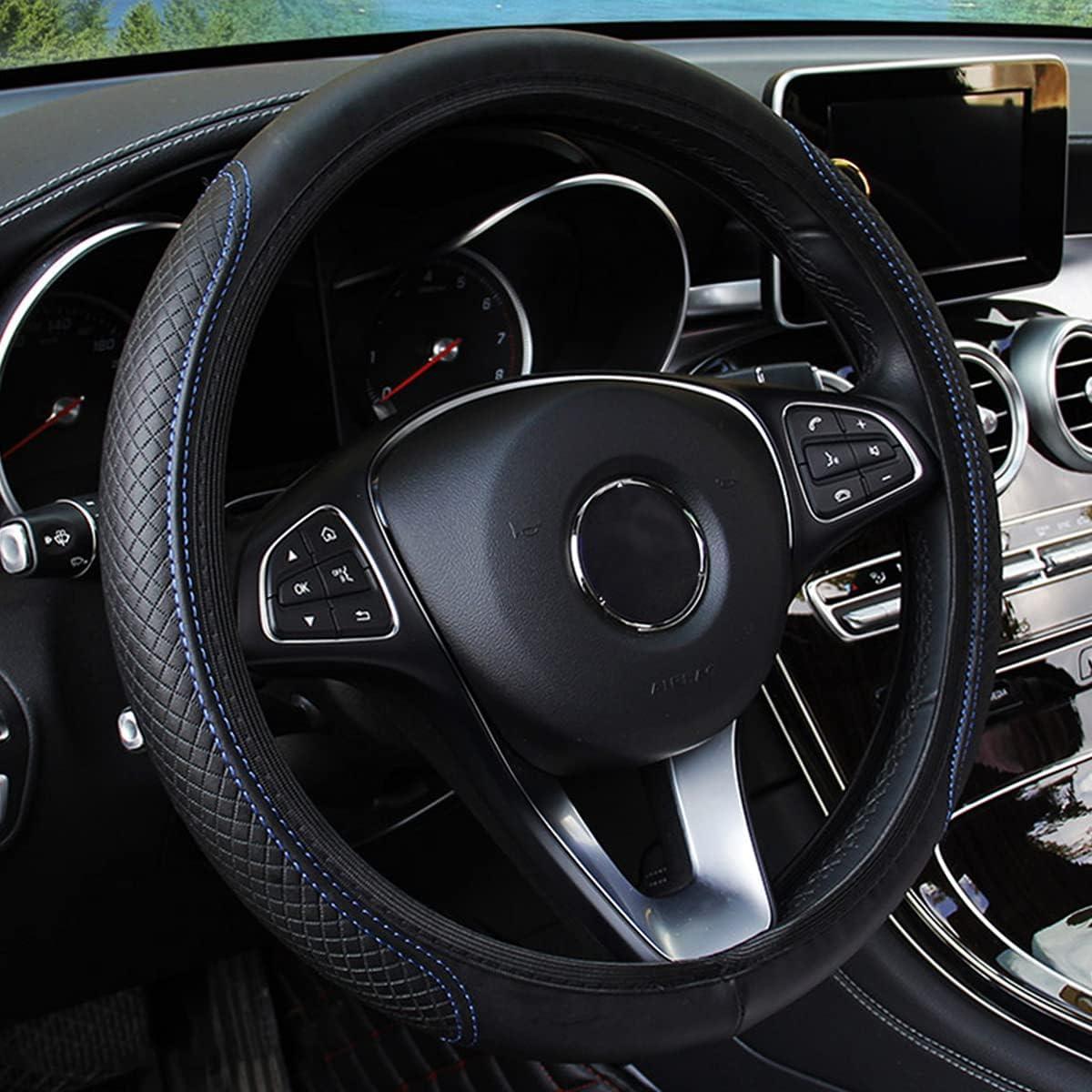 Leather Car Steering Wheel Cover, Elastic, Breathable Anti-Slip, Universal 15 inch, Steering Wheel Cover for Men Women (Black/Blue)