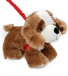 FunStuff Stuffed Animal Plush Toy- Dark Brown Spaniel Dog on a Retractable and Removable Leash