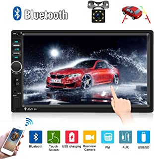 Car Radio Double Din Car Stereo 7 LCD Touch Screen in-Dash Head Unit with Bluetooth Support Mirror Link/DVR/USB/FM/SD/MMC MP3 +Rear View Camera& Remote Control