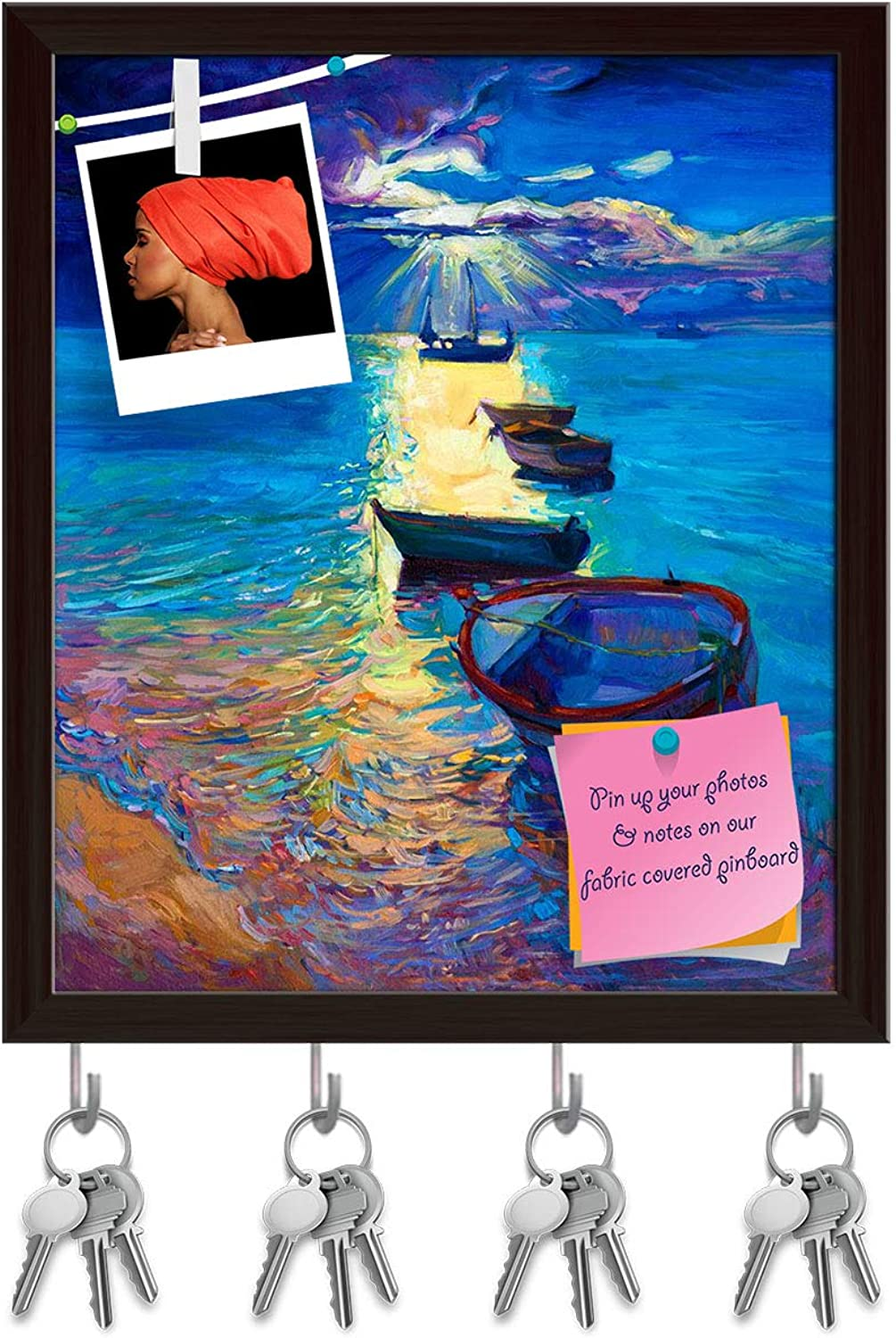 Artzfolio Abstract Artwork of Fishing Boats & Sea D2 Key Holder Hooks   Notice Pin Board   Dark Brown Frame 16 X 19Inch