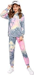 Arshiner Girl's 2 Piece Tie-dye Pullover Hooded Sweatshirt Set Loungewear Sweatpants