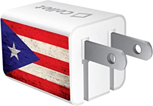 CELLET 5ft Home and Travel Micro USB Wall Charger. Single-Port, Includes Self-Adhesive Cable Organizer Clip Compatible with Micro USB Port Devices (Vintage Puerto Rico Flag Image)