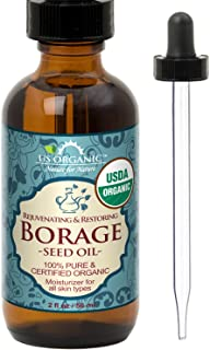 US Organic Borage seed Oil (18% GLA), USDA Certified Organic, 100% Pure & Natural, Cold Pressed, aka Starflower oil, in Am...
