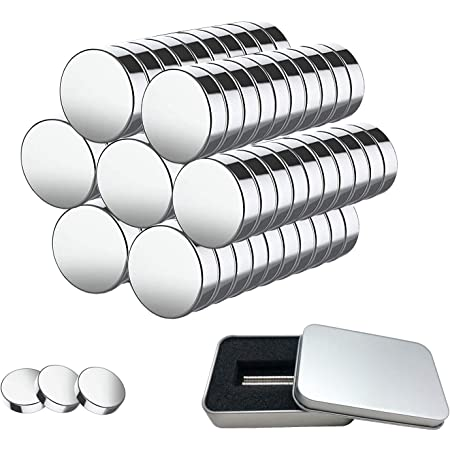 Aimants en Néodyme 100 Pièces Aimants Puissants de 5mm x 1mm avec Boîte de Rangement, Mini Aimants pour Tableau Blanc, Tableau Magnétique, Réfrigérateur, Four Micro-onde, Bandes Magnétiques