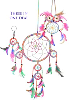 Handmade Dream Catchers Authentic Indian Traditional Native American Circular Net with Feathers Wind Chimes for Car Medium Owl Dream Catcher for Kids Bedroom Large and Small Key Chain. (Colorful)